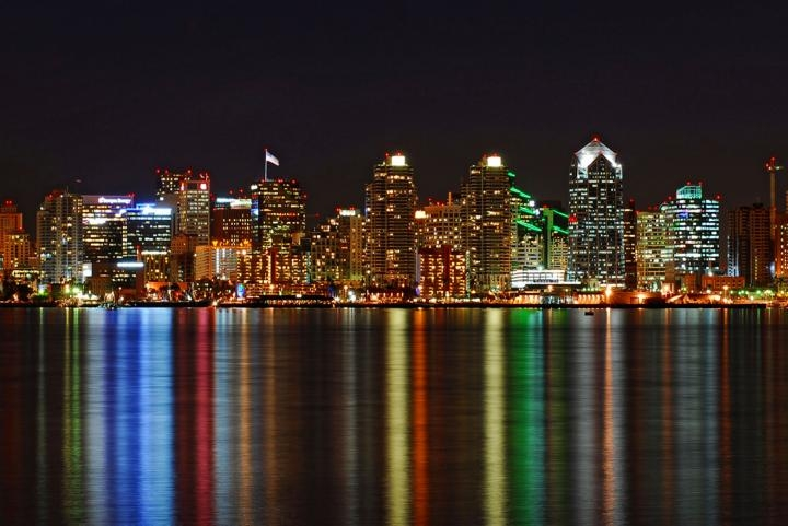 San Diego Skyline at christmas Time