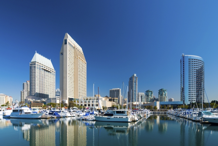 View of Downtown San Diego from the water taxi