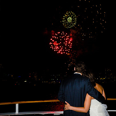 Fireworks at end of wedding